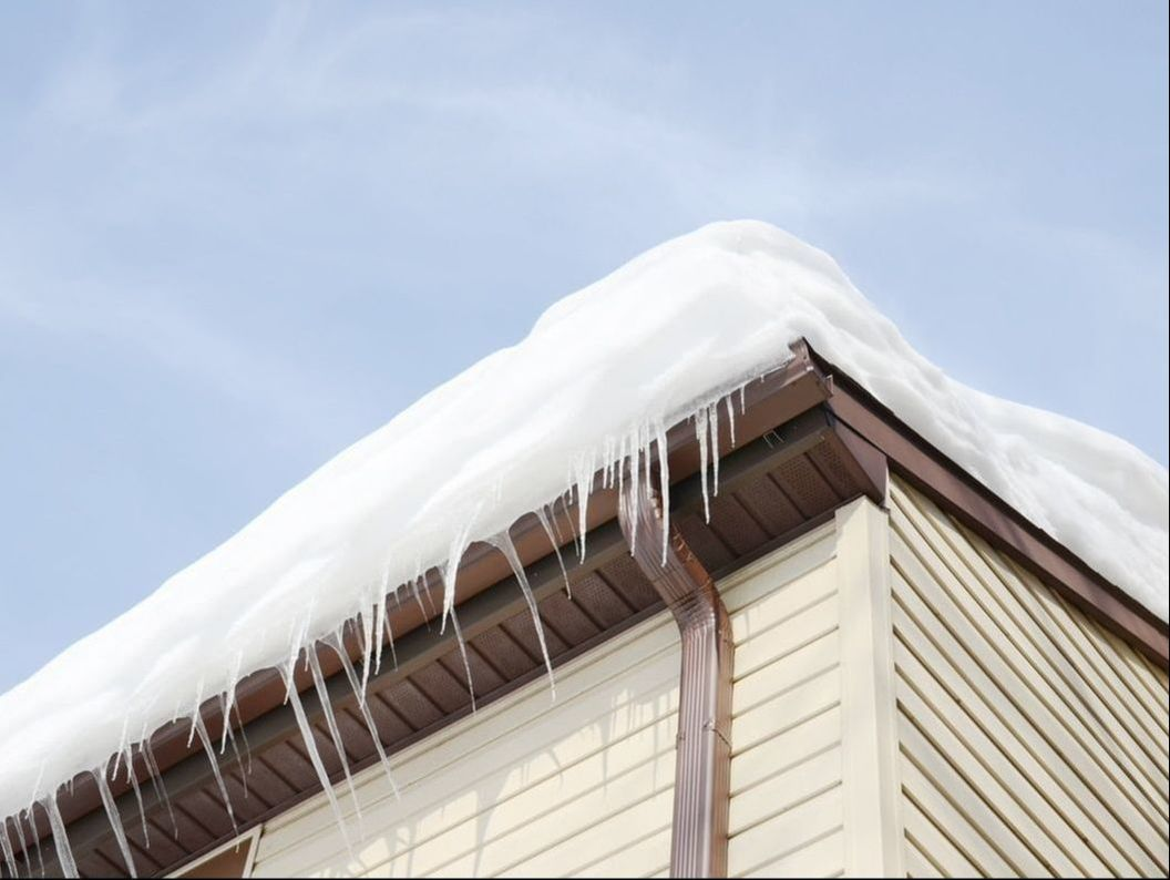 ice dams can be a hidden risk to the roof and gutters as well as the attic and interior walls.